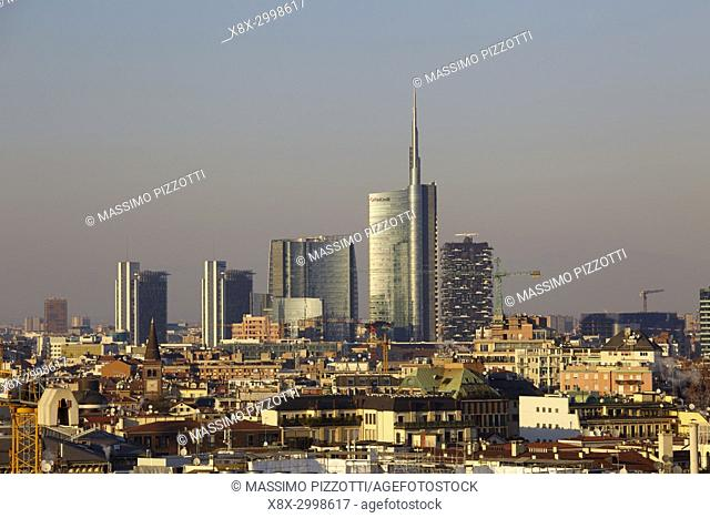 Skyline of Milan with the modern skyscrapers of Porta Nuova, Italy