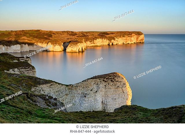 Sunrise over Selwicks Bay, Flamborough Head, East Yorkshire, Yorkshire, England, United Kingdom, Europe