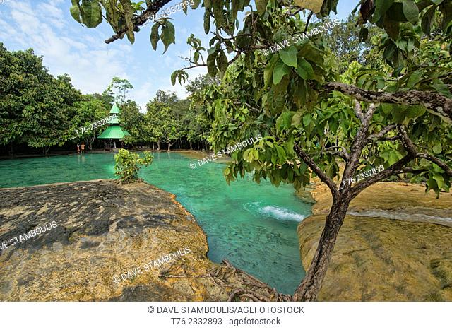 The Sa Morakot Emerald Pool in Krabi, Thailand