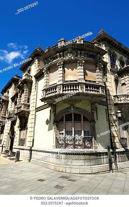 Balsera palace facade building, dating from the early twentieth century, Aviles, Asturias, Spain