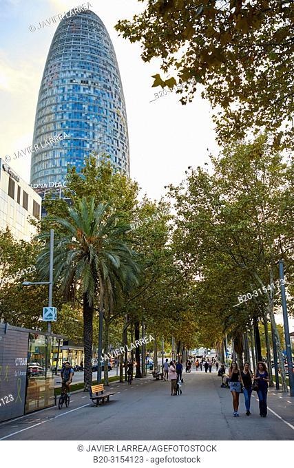 Agbar Tower, Diagonal Avenue, Barcelona, Catalunya, Spain, Europe