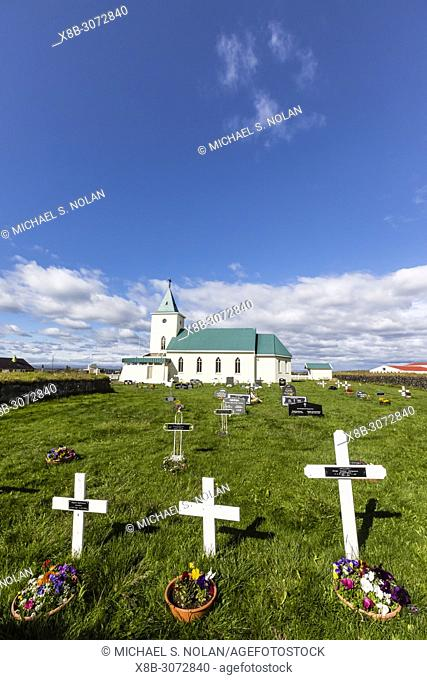 Exterior view of the cemetery at Reynihlíð Church just outside of Akureyri, Iceland