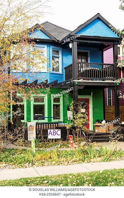 Front of an older house in Kensington, Calgary, Alberta, Canada