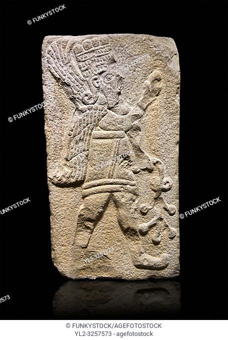 Aslantepe Hittite relief sculpted orthostat stone panel. Limestone, Aslantepe Malatya, 1200-700 B. C. Anatolian Civilizations Museum, Ankara, Turkey