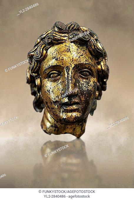 Roman bust of Alexander the Great, 2nd cent B. C bronze with gold leaf. Inv 66177, The National Roman Museum, Rome, Italy