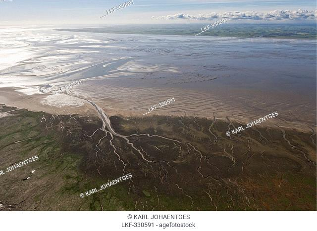 Aerial of tidal inlets in mudflats, Wadden Sea, Lower Saxony, Germany