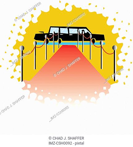 An illustration of a red carpet and a limousine