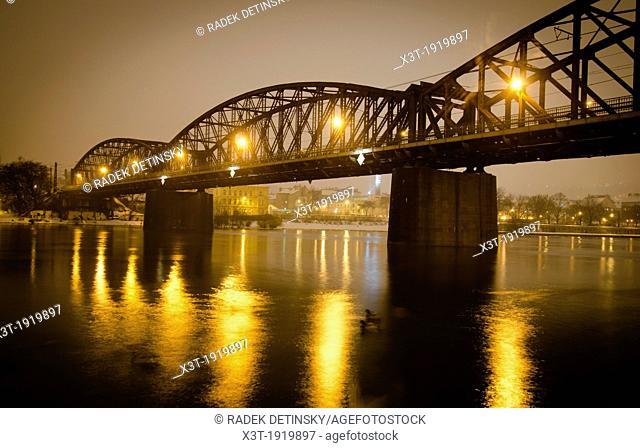 evening winter shot, Railway Bridge b. 1901 across Vltava river, Vysehrad, Prague, Czech Republic