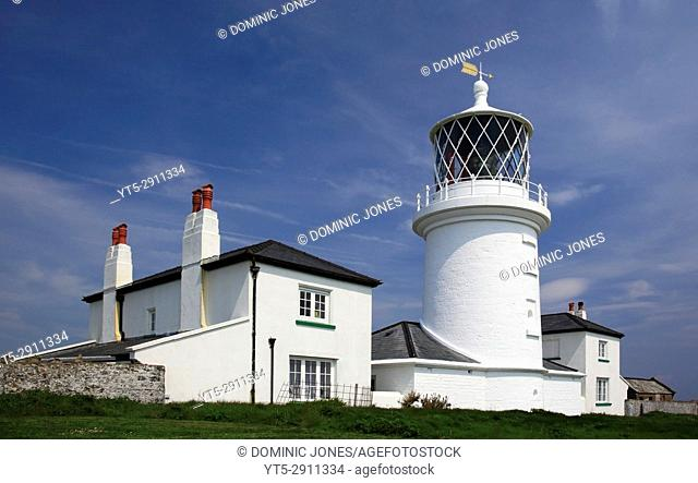 The lighthouse on Caldey Island, Pembrokeshire, Wales, Europe