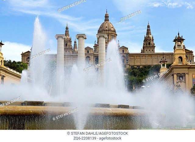 The Magic Fountain in front of the Museu Nacional d'Art de Catalunya, The National Art Museum of Catalunya in Barcelona, Spain