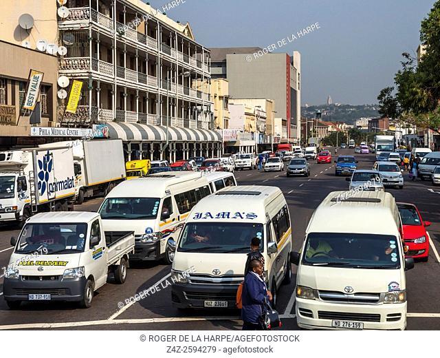 Street scene. Durban or eThekwini. KwaZulu Natal. South Africa