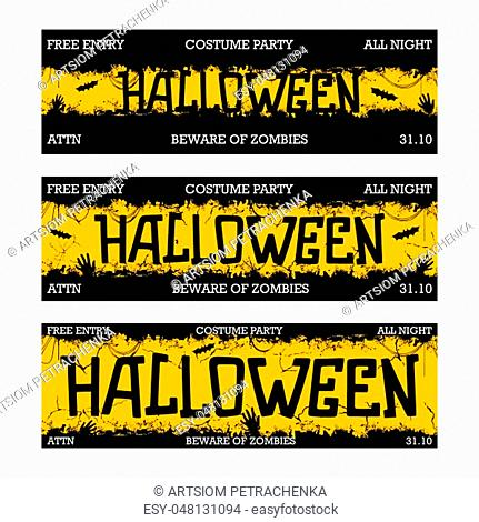 Halloween costume night party. Creative thematic horizontal banner. Horror style template. Three different sizes. Vector illustration