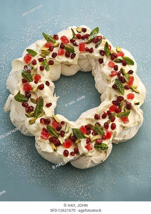 Festive merangue wreath