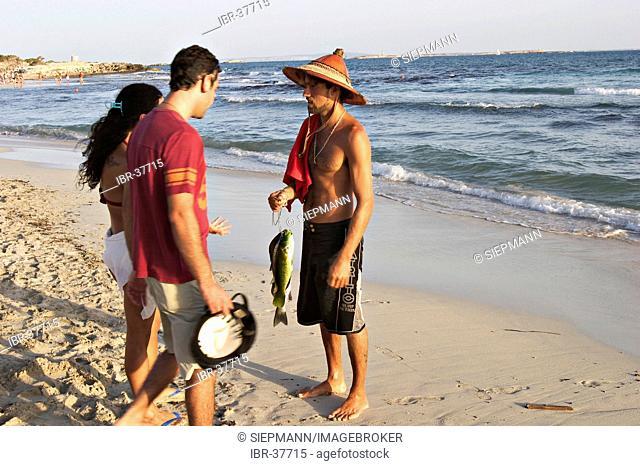 Fish seller at beach Platja de ses Salines - Ibiza