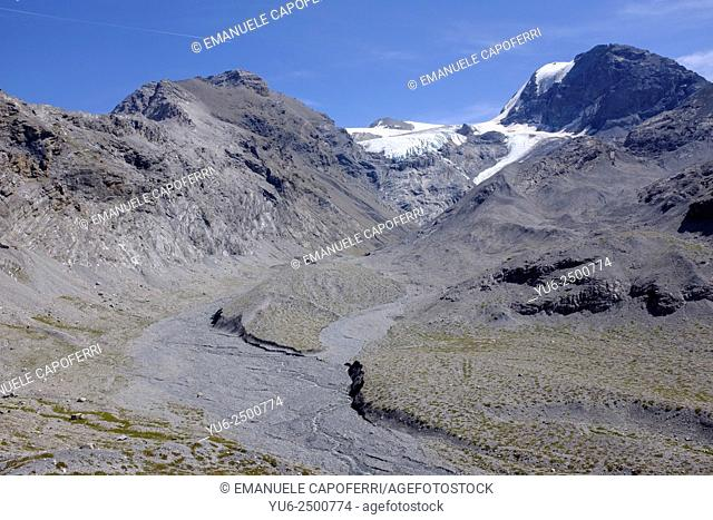 Cristallo Mountain with glacier, Valley of Calves, Stelvio National Park, Italy