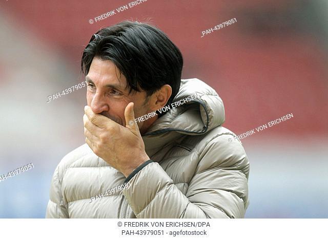 Frankfurt's sports director Bruno Huebner gestures before the German Bundesliga soccer match between 1. FSV Mainz 05 and Eintracht Frankfurt at the Coface Arena...