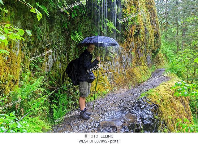 USA, Oregon, Columbia River Gorge, Eagle Creek Trail, Tourist with umbrella