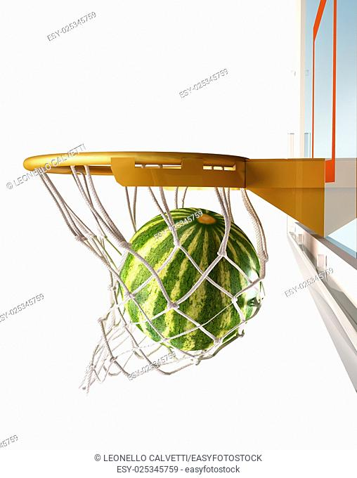 Watermelon centering the basket (of basketball), with the melon inside the net, close up view, on white background