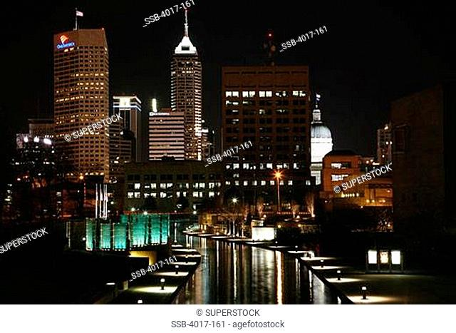 USA, Indiana, Indianapolis, White River Canal at night