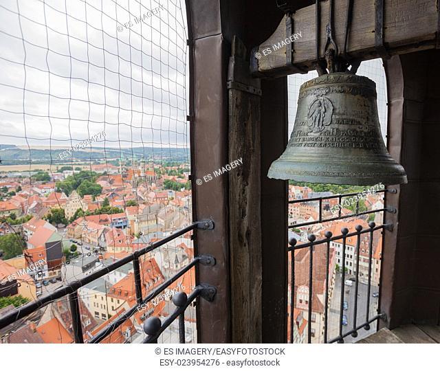 Church bell in the steeple of St Wenceslas church, Naumburg (Saale), Germany