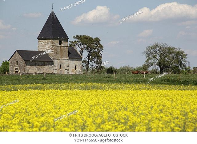 Roman church at Malmy France surrounded by Brassica napus, rapeseed