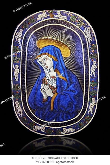 Enamelled plaque of Louis 12th known as the Sorrowful Virgin made in Limoge around 1500. inv 11170, The Louvre Museum, Paris