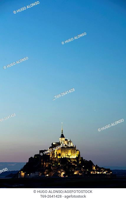 Night landscape. Mont-Saint Michel abbey. Normandy. France