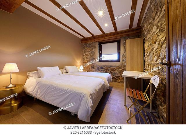 Bedroom, Urain Apartments, Basque farmhouse, Deba, Gipuzkoa, Basque Country, Spain, Europe