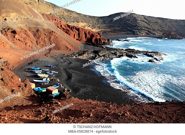 Black beach in the bay of El Golfo, in the southwest of Lanzarote, Canary islands, Spain
