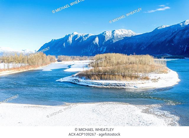 Fraser River in winter at Agassiz, British Columbia, Canada