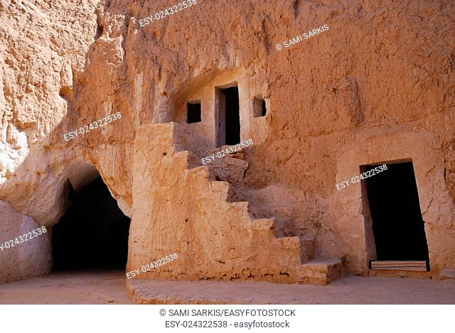 Troglodyte house courtyard in Matmata, Tunisia, North Africa