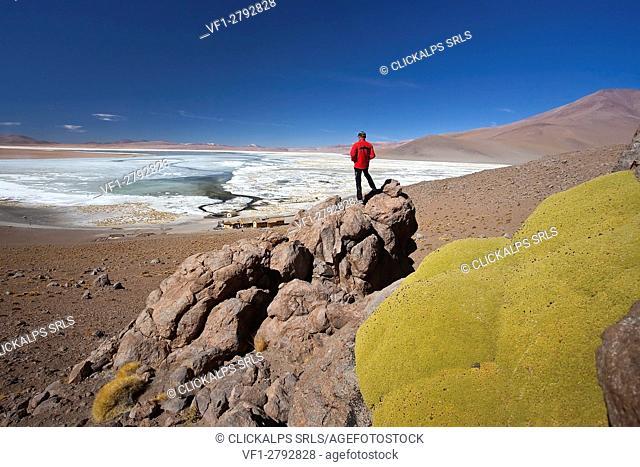 A tourists climbing some rocks not far from the plain of the Salar de Chalviri where lies the Laguna Salata (salt lagoon)