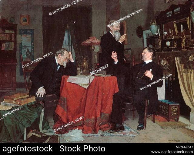A Discussion. Artist: Louis Moeller (1855-1930); Date: ca. 1890-95; Medium: Oil on canvas; Dimensions: 18 x 24 3/16in. (45.7 x 61