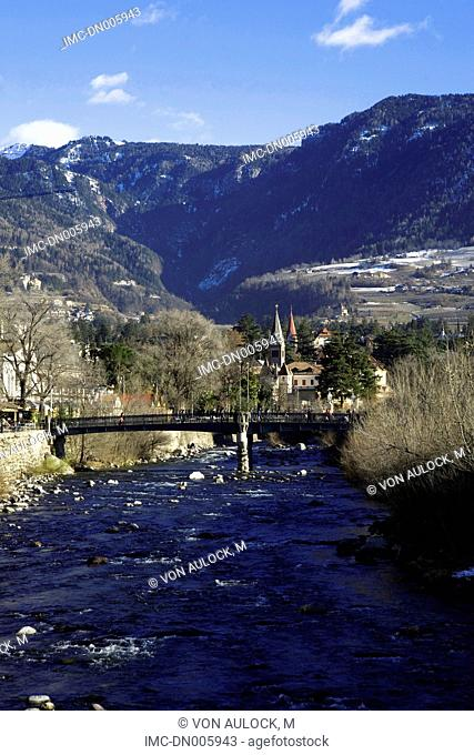 Italy, Bolzano, Merano, bridge on the Passirio