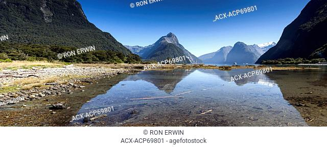 Milford Sound, Fiordland National Park, New Zealand(digitally spliced panorama)