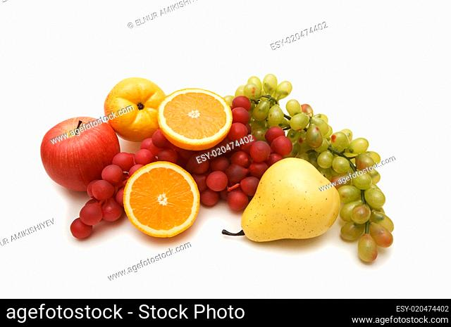 Various fruits isolated on the white background