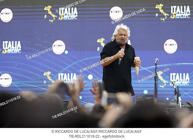 Founder of Five-Star movement Beppe Grillo talks during a rally at Rome's Circus Maximus at Rome, ITALY-21-10-2018