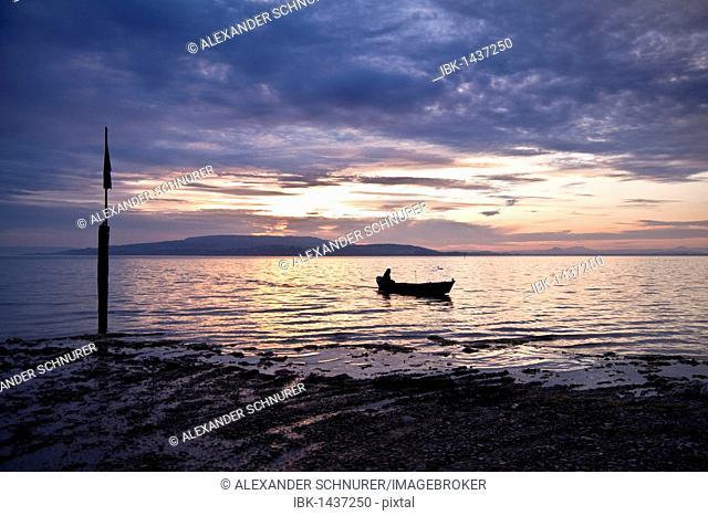 Fisherman at sunset on Reichenau island, looking towards, Lake Constance, Baden-Wuerttemberg, Germany, Europe