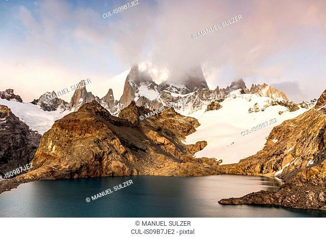Low cloud over Fitz Roy mountain range and Laguna de los Tres in Los Glaciares National Park, Patagonia, Argentina