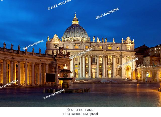St Peters Basilica lit up at night