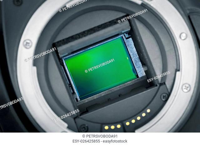 Exposed APS-C image sensor, mirror lifted up