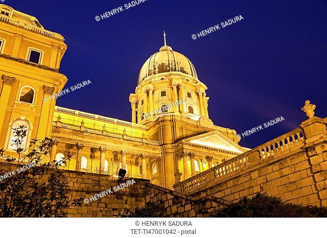 Royal Palace dome illuminated at night