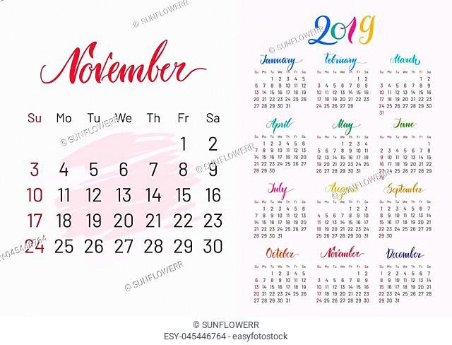 Calendar, 2019, November separately, white-pink background, lettering, artboard. Stylish annual planner for modern people. illustration of chart