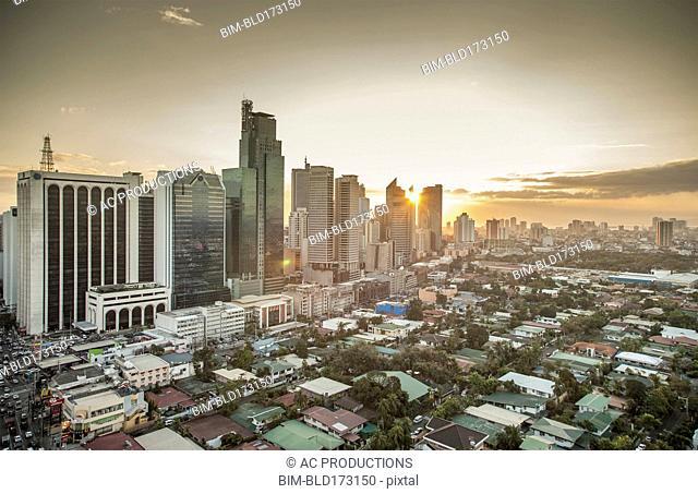 Aerial view of Manila cityscape, Manila, Philippines