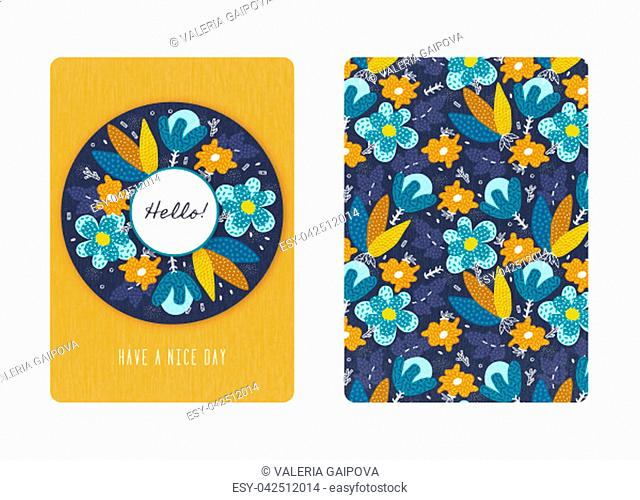 Cover design with floral pattern. Hand drawn creative flowers. Colorful artistic background with blossom. It can be used for invitation, card, cover book