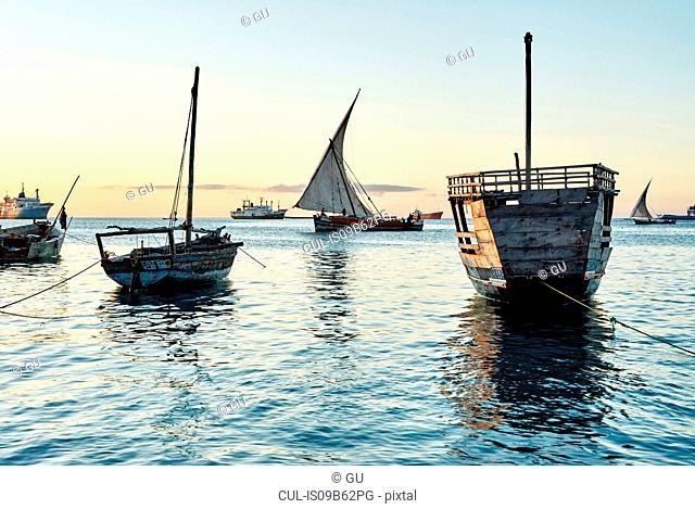 Boats on sea, Zanzibar, Zanzibar Urban, Tanzania, Africa