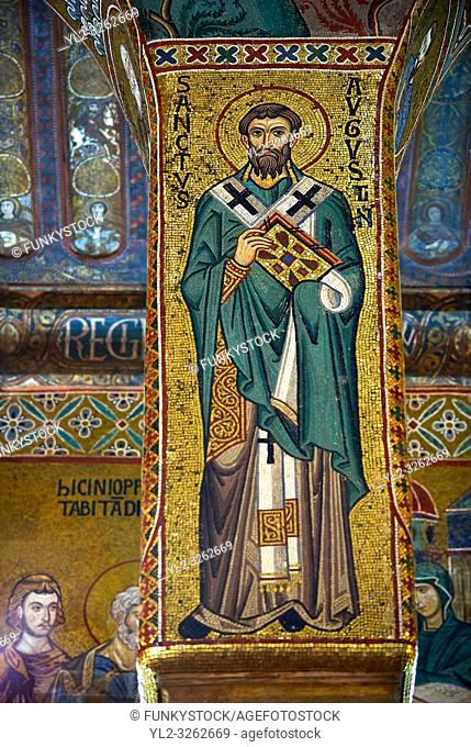 Medieval Byzantine style mosaics of St Augusten, the Palatine Chapel, Cappella Palatina, Palermo, Italy