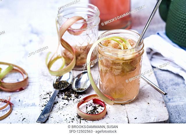 A cocktail of jasmine tea, roasted rhubarb, rhubarb and vanilla syrup