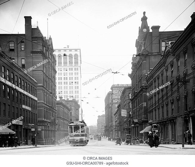 Street Scene, Griswold Street, Detroit, Michigan, USA, circa 1905