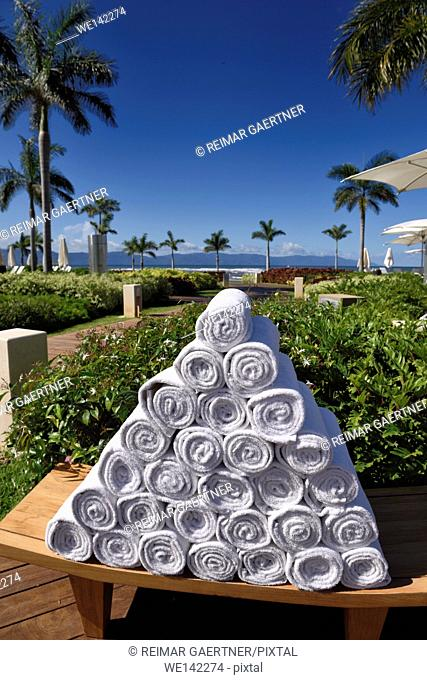 Pyramid of rolled up towels in a beach side resort Nuevo Vallarta Mexico